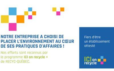 Le Comité 21 Québec obtient la certification ICI on recycle