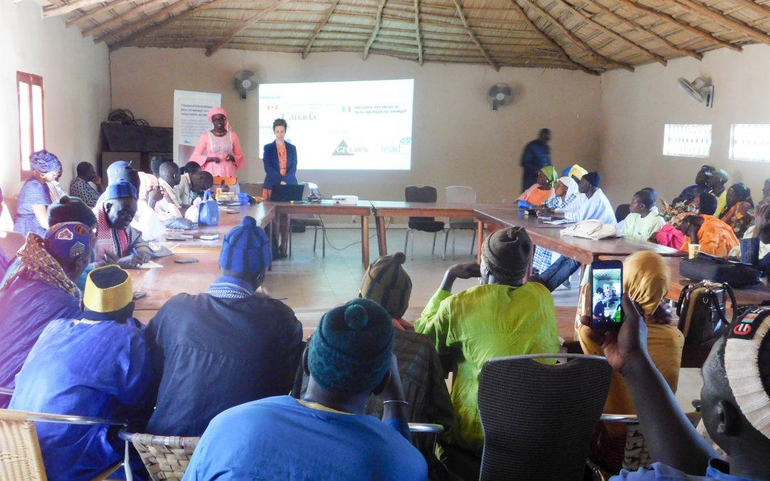 Consultations publiques dans le cadre de la trousse d'outils pour un secteur minier responsable au Sénégal