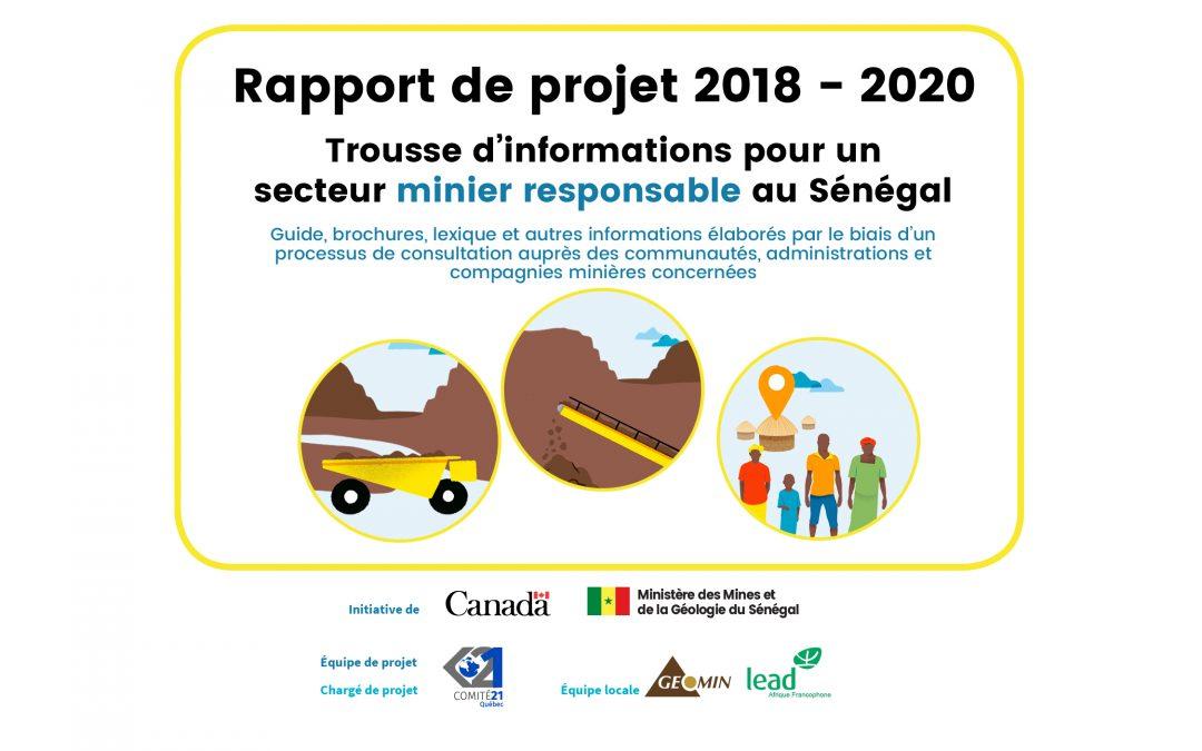 Rapport de fin de projet : Trousse d'informations pour un secteur minier responsable au Sénégal