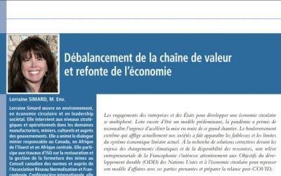 Débalancement de la chaîne de valeur et refonte de l'économie, article de Lorraine Simard dans le bulletin Liaison de l'Institut de la francophonie pour un développement durable