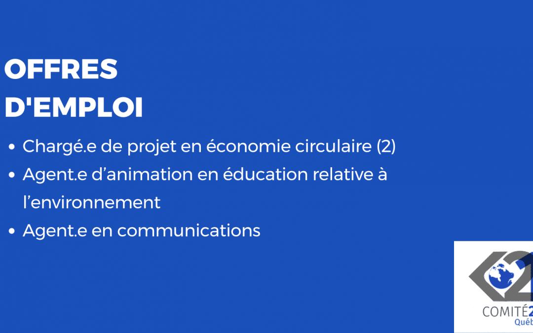 Le Comité 21 Québec recrute pour l'été